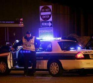 An Arlington County (VA) police officer at Pentagon shooting scene (Reuters)