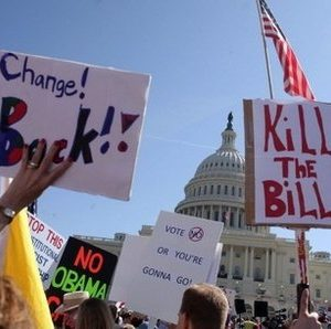 Health care protest in Washington Saturday (AFP)