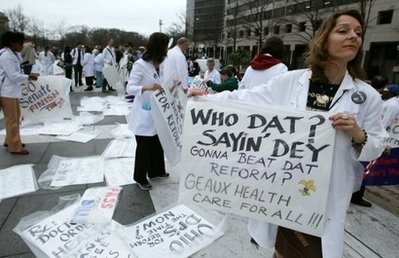 Pro health-care reform rally in Washington (AFP)