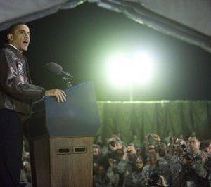 President Obama speaks to troops in Afghanistan (AFP)