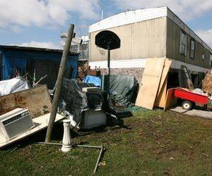 Christian trailer trash? The double-wide home of Christian militia leader David Brian Stone in Clayton, Mich. (AP)