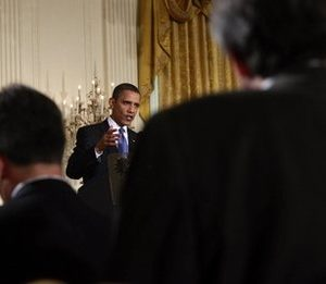 President Obama faces the press (AP)