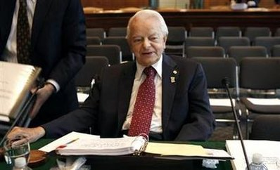 Senator Robert Byrd chairs a meeting on a supplementary budget bill for war funding in Washington