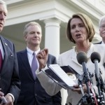 House Speaker Nancy Pelosi and other House Democrats after meeting with Obama (AP)