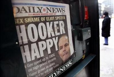 A copy of New York Daily News is seen in news stand outside offices of New York Governor Eliot Spitzer in Manhattan