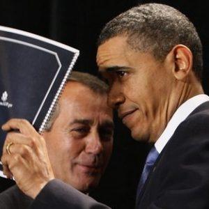 President Barack Obama with Republican leader John Boehner (AP)