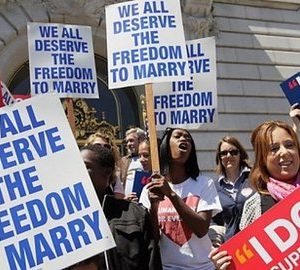 Gay marriage advocates in California (AFP)