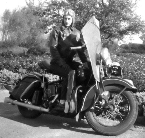 Mom in 1946 after a ride from Meadows of Dan, Virginia to Tampa, Florida.