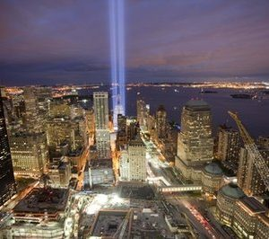 The Tribute in Light above the World Trade Center site (AP)