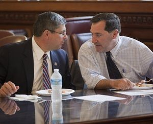 "Rep. Mike Ross, D-Ark., left, and Rep. Joe Donnelly, D-Ind., talk before a meeting of ""Blue Dog"" Democrats (AP)"