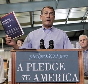 "House Minority Leader John Boehner introduces the GOP ""Pledge to America.""  Good strategy or a boon to Democrtas? (AP Photo)"