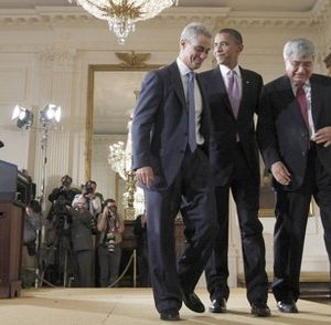 President Barack Obama walks off stage with outgoing White House  Chief of Staff Rahm Emanuel, left, and new interim Chief of Staff Pete Rouse  (AP Photo/Pablo Martinez Monsivais)