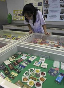 Condoms on display in a museum.  A relic of the past for adults? (Reuters)