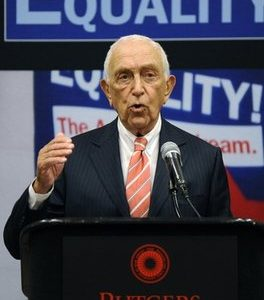 U. S. Senator Frank Lautenberg (D-NJ) speaks at a statewide town meeting in memory of Rutgers student Tyler Clementi Wednesday, Oct. 6, 2010 at the Rutgers University Student Center in New Brunswick, N.J. (AP Photo/Bill Kostroun)