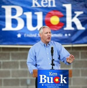 Republican Senate candidate Ken Buck addresses a small crowd during a rally where three prominent Republicans show their support including Sen. John Thune (R-SD),  Sen. John Barrasso (R-WY) and former Sen. Bill Armstrong (R-CO) at Clement Park in Littleton, Colo., Tuesday, Oct. 12, 2010. (AP Photo/Barry Gutierrez)