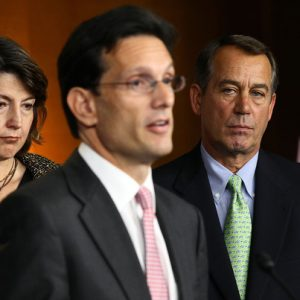 Eric Cantor (center) and John Boehner (right).