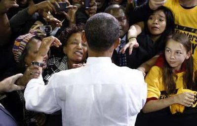 Obama drawing large crowds at campaign rallies