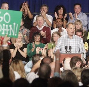 Senator John Boehner (R-Ohio) speaks at a rally, Friday, Oct. 8, 2010, in West Chester, Ohio. Boehner is seeking re-election against Democratic challenger Justin Coussoule. (AP Photo/Al Behrman)
