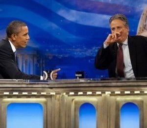 President Obama and Jon Stewart (AFP)