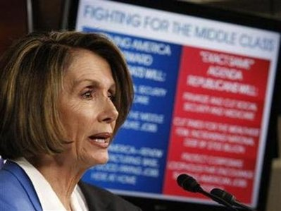 """House Speaker Pelosi addresses a news conference to contrast Democratic Party initiatives with the Republican Party's """"Pledge to America"""" in Washington"""