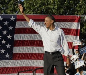 President Barack Obama waves at a rally in Philadelphia, Sunday, Oct. 10, 2010. (AP Photo/J. Scott Applewhite)