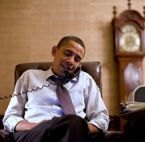 President Barack Obama makes an election night phone call to Rep. John Boehner, R-Ohio, who will most likely be the next House Speaker, from the Treaty Room in the White House residence, Tuesday, Nov. 2, 2010, in Washington. (AP Photo/The White House, Pete Souza)