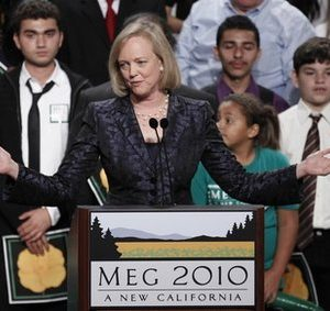 Republican gubernatorial candidate Meg Whitman concedes the election at her election night party in Los Angeles.   Dipping into their personal fortunes to finance a political campaign turned out to be a bad investment for several candidates trying to break into political office.   Whitman took the steepest gamble, spending $142 million in her effort to become California's next governor.(AP Photo/Chris Carlson)