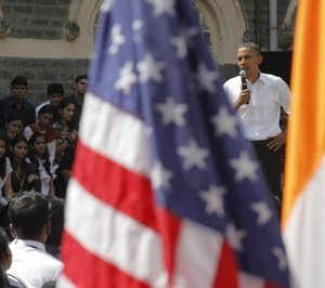 President Barack Obama takes questions from students at a town-hall style event with students at St. Xavier's College in Mumbai, India, Sunday, Nov. 7, 2010. (AP Photo/Charles Dharapak)