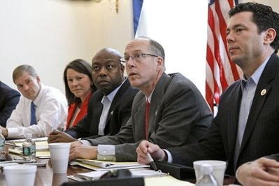 Republican Majority Transition Chairman Rep. Greg Walden, R-Ore.; second from right, speaks on Capitol Hill in Washington, Tuesday, Nov. 9, 2010, during a photo opportunity with the transition team. From left are, Rep. Jim Jordan, R-Ohio; Rep.-elect Martha Roby, R-Ala.; Rep.-elect Tim Scott, R-S.C.,  Walden; and Rep. Jason Chaffetz, R-Utah. (AP Photo/Alex Brandon)
