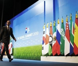 President Barack Obama leaves the stage after a news conference at the G-20 summit in Seoul, South Korea, Friday, Nov. 12, 2010. (AP Photo/Charles Dharapak)