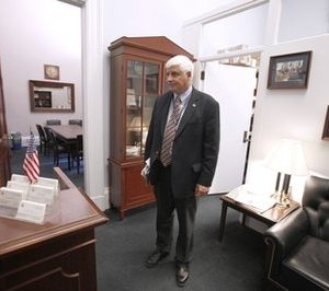 Rep.-elect Bob Gibbs, R-Ohio looks over his new office in the Cannon House Office Building,  on Capitol Hill in Washington, Friday, Nov. 19, 2010, as incoming House of Representatives members  picked their office space. (AP Photo/Harry Hamburg)