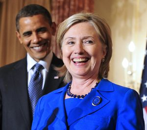 Secretary of State Hillary Clinton and President Barack Obama: Who, me run?