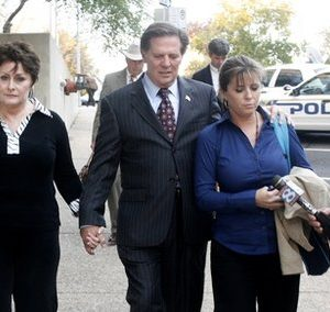 Former House Majority Leader Tom Delay, along with his wife, Christine, left, and daughter Danielle Garcia, leave the Travis Co. Courthouse in Austin, Texas on Wednesday, Nov. 24, 2010. A jury found Delay guilty of money laundering and conspiracy to commit money laundering. (AP Photo/Jack Plunkett)