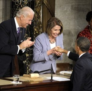 House Speaker Nancy Pelosi: No longer a friend of her President (AP)