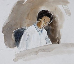 This courtroom sketch shows terror suspect Mohamed Osman Mohamud during an appearance in federal court Monday, Nov. 29, 2010, in Portland, Ore. Authorities say Mohamud and an FBI operative parked a van full of dummy explosives on Southwest Yamhill Street across from Pioneer Courthouse Square just after sundown Friday while thousands gathered in the square for the annual tree lighting. Mohamud is accused of attempting to detonate the explosives. (AP Photo/Abigail Marble)
