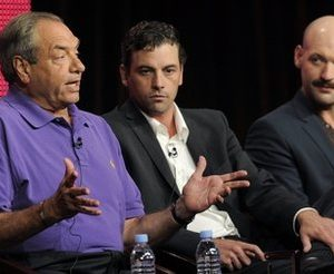 "Dick Wolf, left, executive producer of ""Law & Order: Los Angeles,"" with cast members Skeet Ulrich, center, and Corey Stoll during the NBC Universal Television Critics Association summer press tour in Beverly Hills, Calif.  The plot on the Wednesday Dec. 1, 2010 ""Law & Order: Los Angeles"" includes a philandering golf star and his club-wielding wife. (AP Photo/Chris Pizzello)"