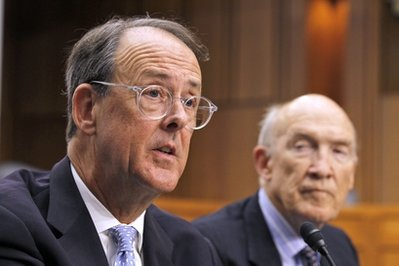 Debt Commission co-chairmen Erskine Bowles, left, and former Wyoming Sen. Alan Simpson, speak to the media after a meeting of the commission on Capitol Hill in Washington,  Wednesday, Dec. 1, 2010. (AP Photo/Alex Brandon)