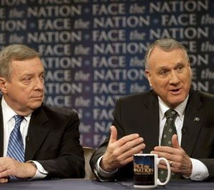 "Democrat Senate Majority Whip Richard Durbin, D-Ill., left, and Republican Senate Minority Whip Jon Kyl, R-Ariz., discuss the Senate's agenda during the lame duck session on CBS News' ""Face the Nation"" Sunday, Dec. 5, 2010. (AP Photo/CBS, Chris Usher)"