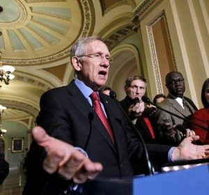 Senate Majority Leader Harry Reid of Nev. gestures during a news conference on Capitol Hill in Washington Wednesday, Dec. 8, 2010. (AP Photo/Alex Brandon)