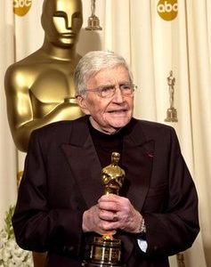 In this Feb. 29, 2004 file photo, filmmaker Blake Edwards speaks after receiving an honorary Oscar from the Academy of Motion Picture Arts and Sciences during the 76th annual Academy Awards in Los Angeles. (AP Photo/Mark J. Terrill, file)