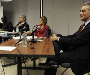 Rahm Emanuel right, testifies before the Chicago Board of Election Commissioners during a hearing challenging his residency to run as Mayor in Chicago, Tuesday, Dec. 14, 2010. (AP Photo/Paul Beaty)
