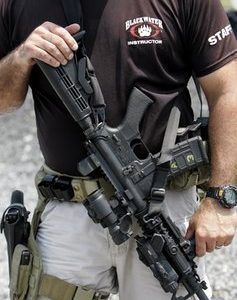 A mercenary from XE, formerly known as Blackwater Worldwide (AP)