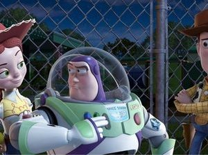 "In this film publicity image released by Disney, from left, Jessie, voiced by Joan Cusack, Buzz Lightyear, voiced by Tim Allen and Woody, voiced by Tom Hanks are shown in a scene from ""Toy Story 3.""  Domestic box-office revenues for 2010 won't quite hit last year's record-setting haul, but they'll be awfully close. Total movie-ticket sales will reach $10.556 billion, the tracking agency Hollywood.com said Tuesday, Dec. 28, 2010.   ""Toy Story 3"" was the highest-grossing film released in 2010, earning nearly $415 million. (AP Photo/Disney Pixar)"