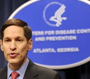Dr. Thomas R. Frieden, Director of the Centers for Disease Control and Prevention, is shown at the agency's headquarters on in this Sept. 3, 2009 file photo taken in Atlanta. The U.S. Centers for Disease Control and Prevention lost or misplaced more than $8 million in property in 2007, losing track of items including computer and video equipment, government auditors say. Frieden wrote the inspector general that the CDC agrees with the report's conclusions and has now instituted better controls.  (AP Photo/Erik S. Lesser, File)