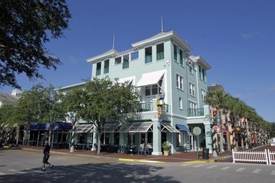 This photo taken Wednesday, Dec. 1, 2010, shows the downtown area of Celebration, Fla. Police are investigating the first ever murder in Celebration, the Disney-developed community in Florida. (AP Photo/John Raoux)