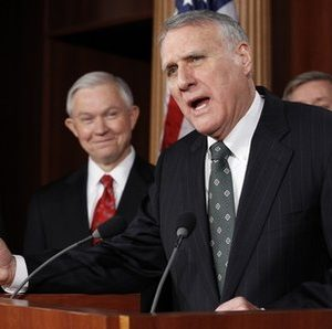 Republican Whip Sen. Jon Kyl, R-Ariz., center, speaks as Sen. Jeff Sessions, R-Ala., left, and Sen. Lindsey Graham, R-S.C., stand nearby during a news conference about the New START Treaty on Capitol Hill in Washington Tuesday, Dec. 21, 2010.(AP Photo/Alex Brandon)