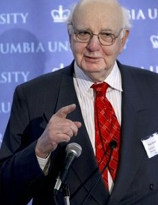 In this Feb. 20, 2009, file photo, Paul Volcker, Chair of the President's Economic Recovery Advisory Board, speaks at the Center on Capitalism and Society at Columbia University 6th Annual Conference on Emerging from the Financial Crisis in New York. Volcker is ending his term as chairman of the panel in February 2011, a person familiar with the situation said Wednesday, Jan. 5, 2011. (AP Photo/Craig Ruttle)