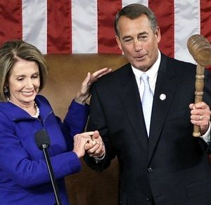 House Speaker John Boehner of Ohio holds up the gavel after receiving it from outgoing House Speaker Nancy Pelosi of Calif. during the first session of the 112th Congress, on Capitol Hill in Washington, Wednesday, Jan. 5, 2011.  (AP Photo/Charles Dharapak)