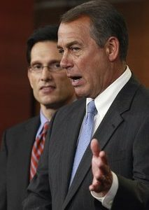 House Speaker John Boehner of Ohio, right, accompanied by House Majority Leader Eric Cantor of Va., gestures during a news conference on Capitol Hill in Washington, Thursday, Jan. 6, 2011. (AP Photo/Alex Brandon)