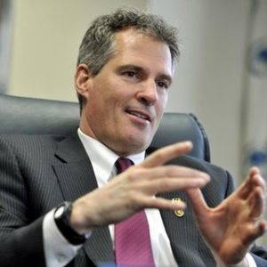 In this Jan. 11, 2011 photo, Massachusetts Sen. Scott Brown answers a question during an Associated Press interview at his office in Boston. (AP Photo/Josh Reynolds)